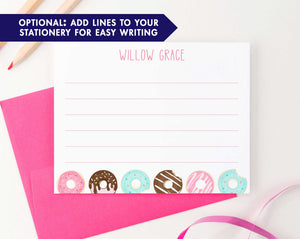 KS124 personalized donuts stationery set for kids kid girls girl boy donut do nut cute fun simple lined