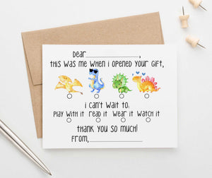 KS125A dinosaur fill in thank you stationery set kids boys boy girls dinos dinosaurs cute fun fill ins 2