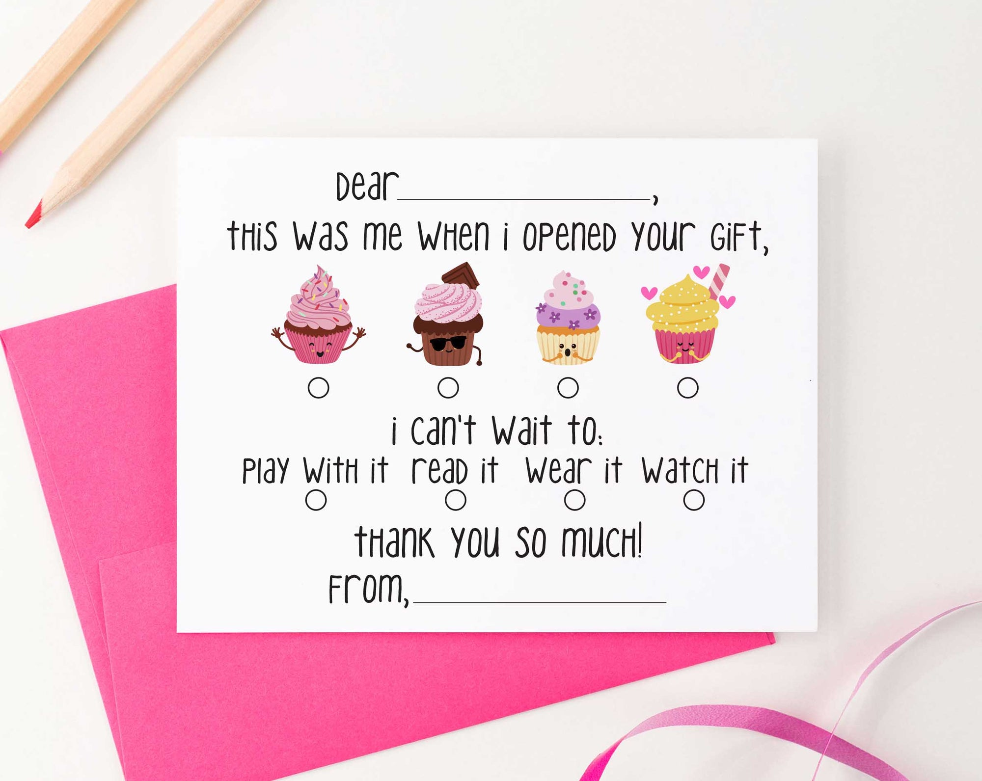 KS126B cupcake fill in thank you stationery girls and boys cute simple cupcakes 2