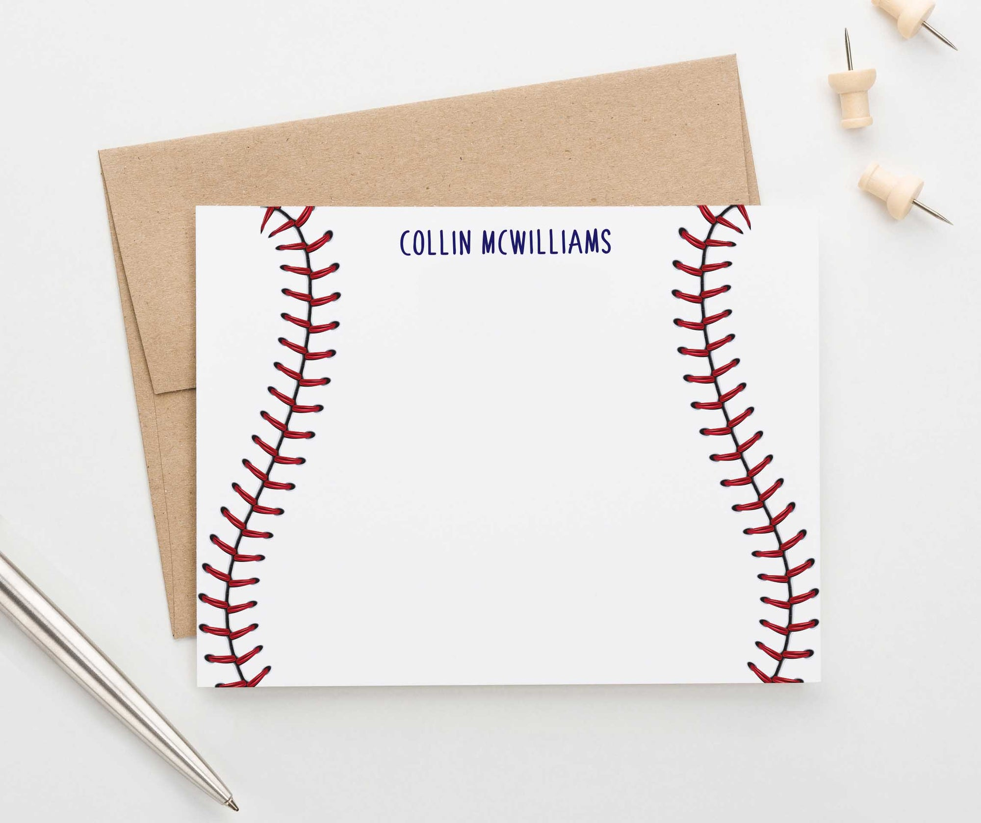 KS127 personalized baseball stitch stationery for children kids sports sport athletic-2