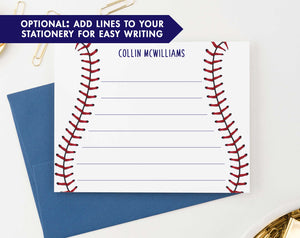 KS127 personalized baseball stitch stationery for children kids sports sport athletic lined