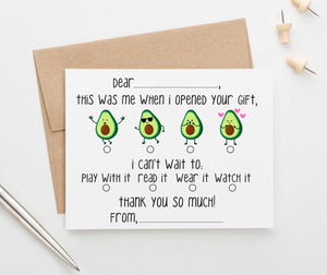 KS128 avocado fill in thank you stationery cards kids fun 1