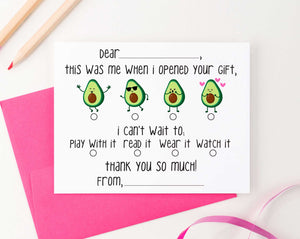 KS128 avocado fill in thank you stationery cards kids fun 3