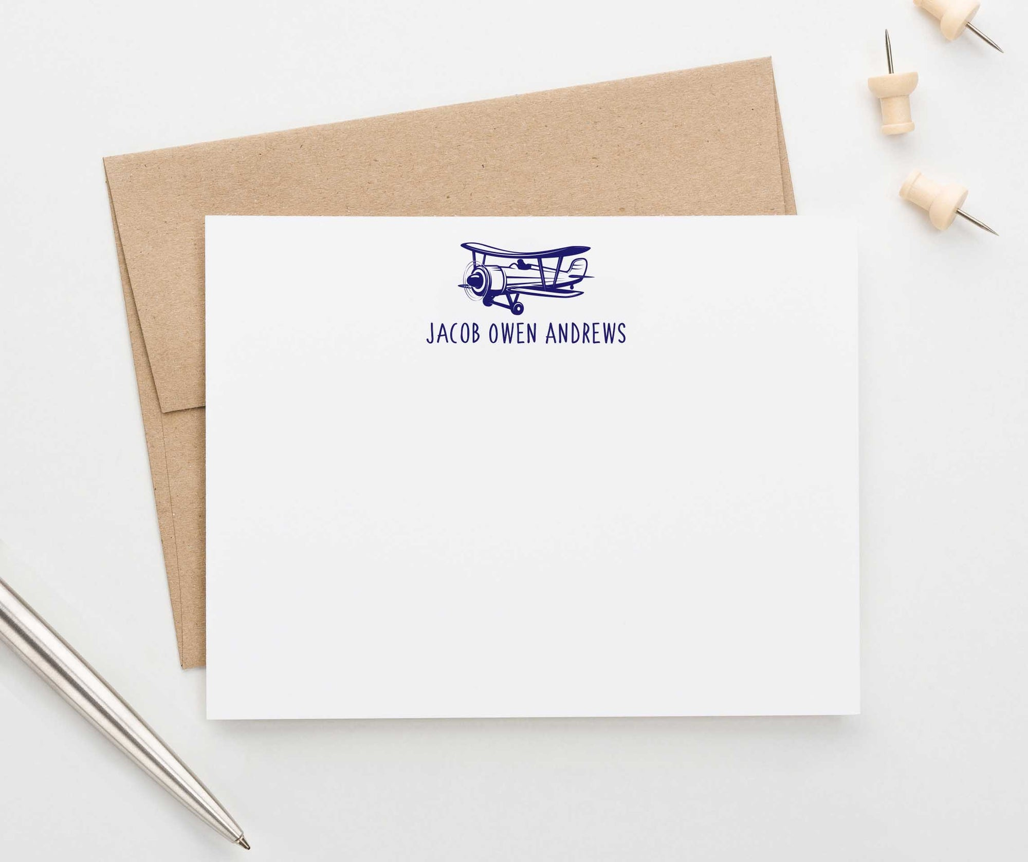 KS130 vintage airplane stationery note cards personalized airplanes fun simple kids 3