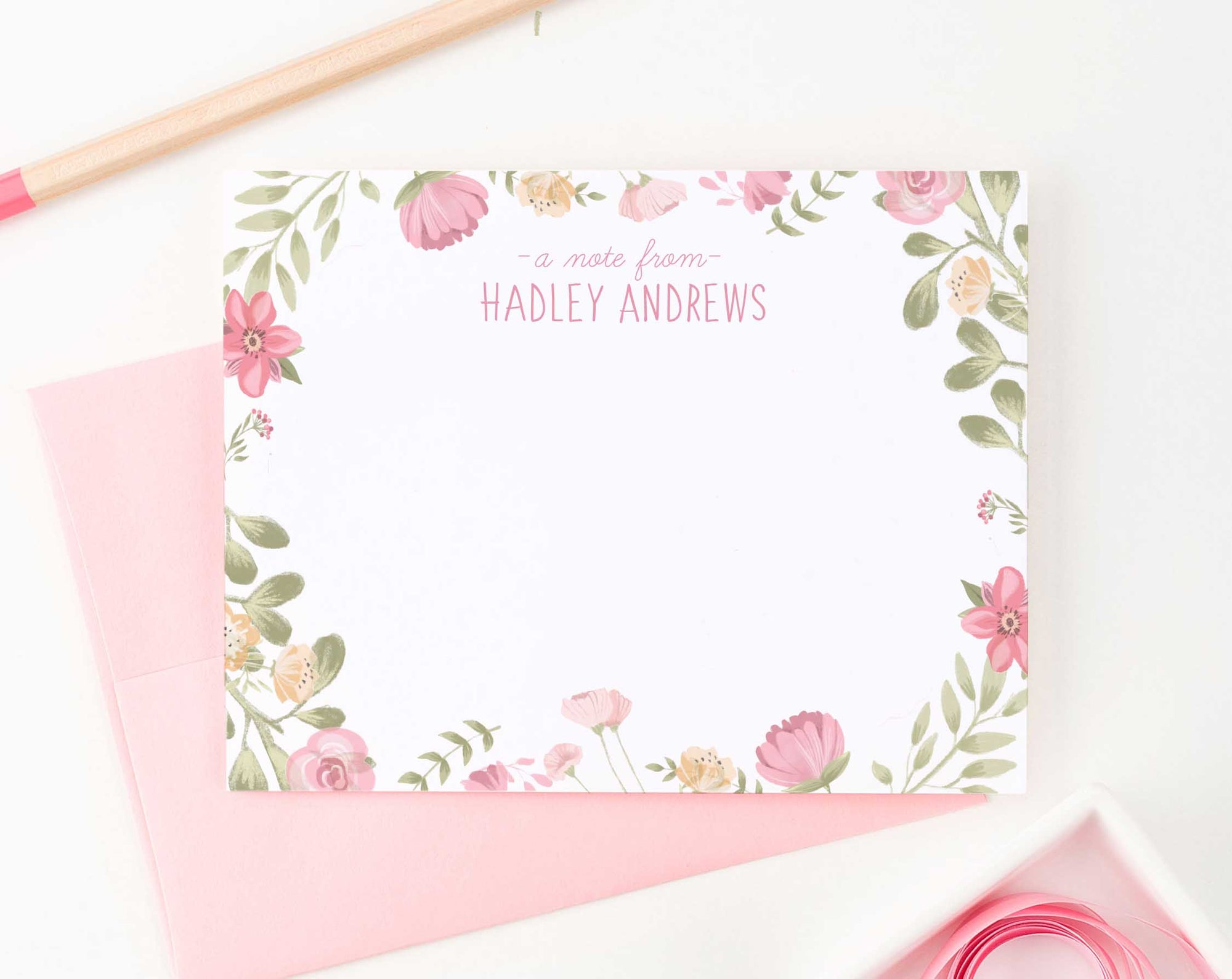 KS133 watercolor floral personalized stationery set a note from girls flowers cute sweet 2
