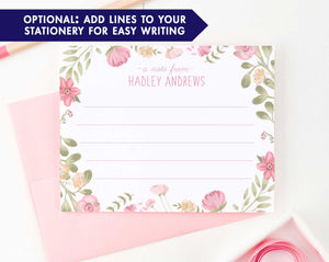 KS133 watercolor floral personalized stationery set a note from girls flowers cute sweet lined