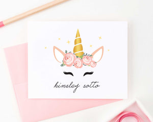 KS134 personalized folded floral unicorn stationery gifts unicorn face flowers sweet fun