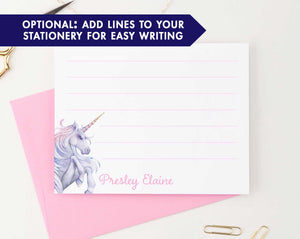 KS135 personalized watercolor unicorn stationery for kid girls unicorns lined