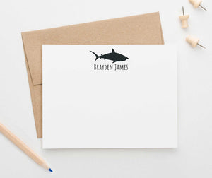 KS139 personalized silhouette shark thank you cards for kid sharks fish animal cute 3
