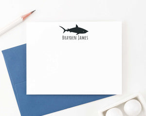 KS139 personalized silhouette shark thank you cards for kid sharks fish animal cute 4