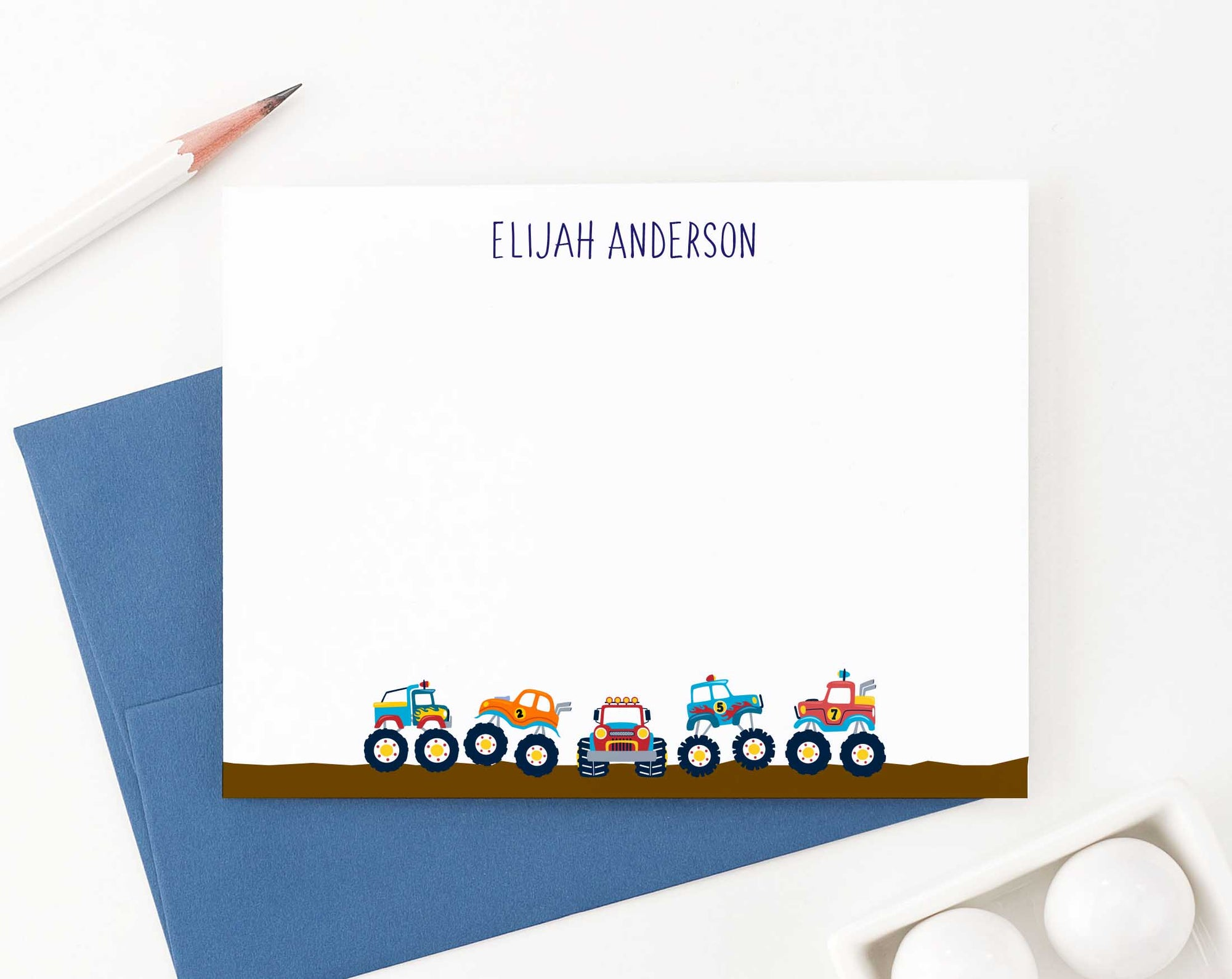 KS142 monster truck personal stationery for boys kids truck big vehicle automobile fun 2