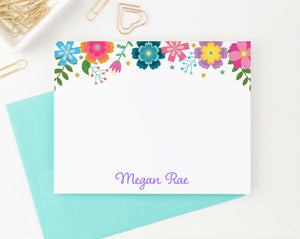 KS144 colorful floral stationery personalized note cards for girls kids flowers florals bright vibrant elegant 2