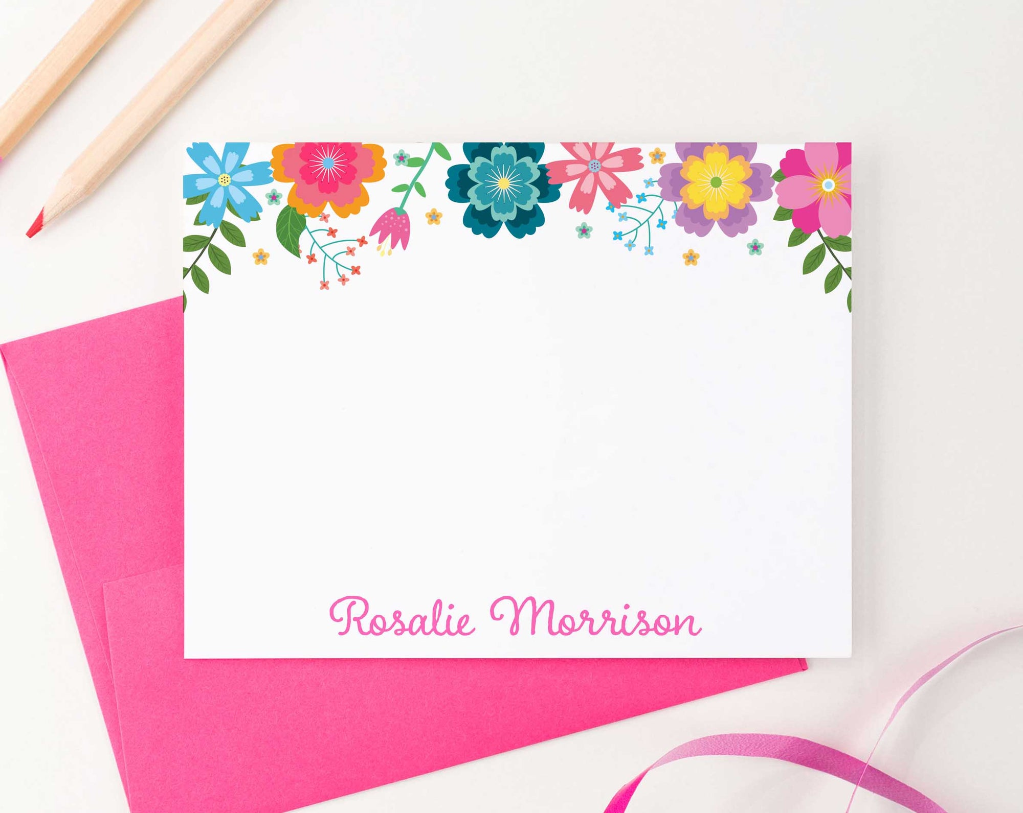 KS144 colorful floral stationery personalized note cards for girls kids flowers florals bright vibrant elegant 3