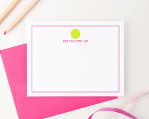 KS148 tennis stationery note cards personalized for kids sports sport girls boys simple border 3