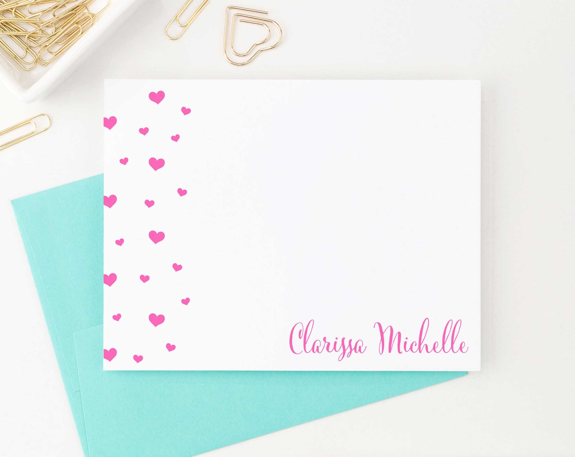 KS149 personalized name and heart stationery set for girls girl kids elegant cute 3