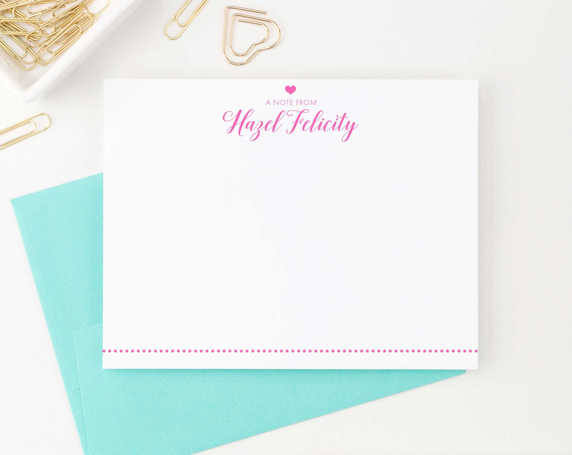 KS150 personalized a note from heart stationery for girls and boys kids polka dot line bottom elegant classic