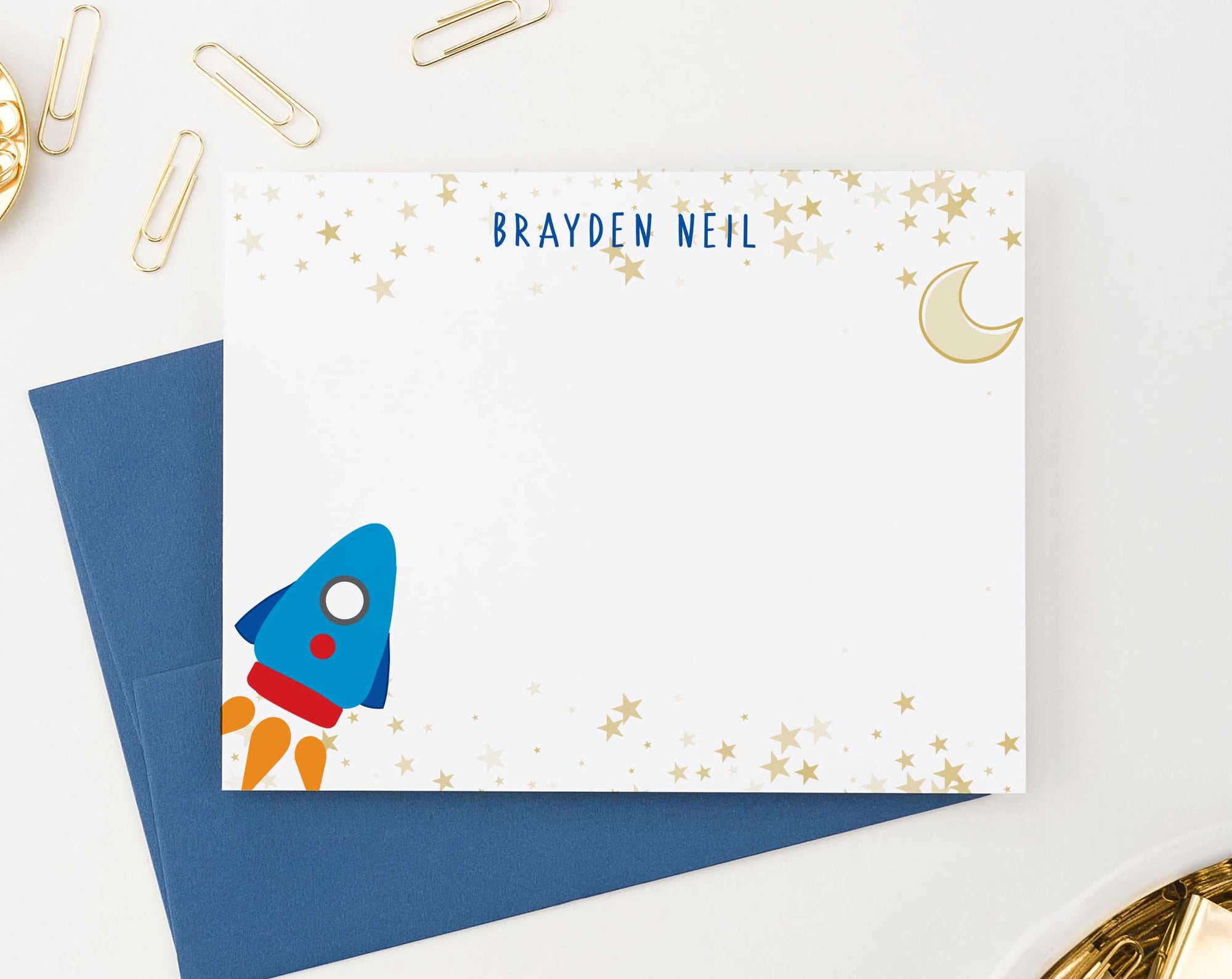 KS152 personalized rocketship stationery set with gold stars space spaceship moon star boys girls kids 3