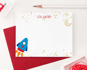KS152 personalized rocketship stationery set with gold stars space spaceship moon star boys girls kids 4