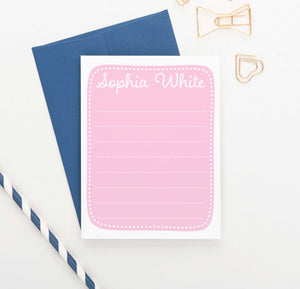 KS158 personalized girls pink stationery with polka dot border baby pink kids cute lined 1