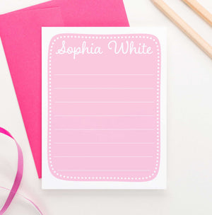 KS158 personalized girls pink stationery with polka dot border baby pink kids cute lined