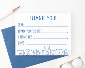 KS160 dog fill in thank you stationery for boys and girls kids cute dogs puppy 1