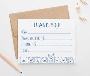 KS160 dog fill in thank you stationery for boys and girls kids cute dogs puppy