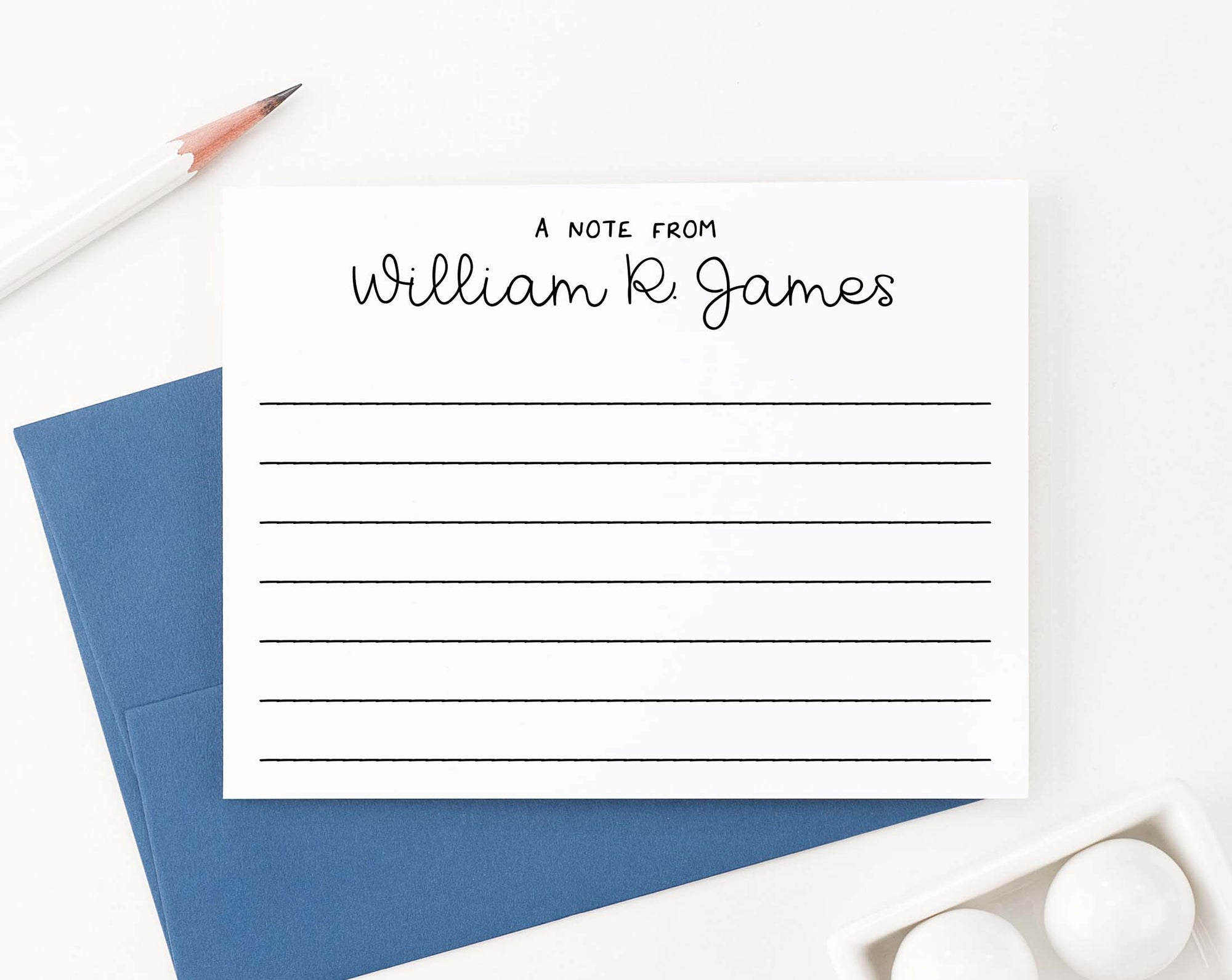 KS162 simple a note from lined kids stationary personalized script block font