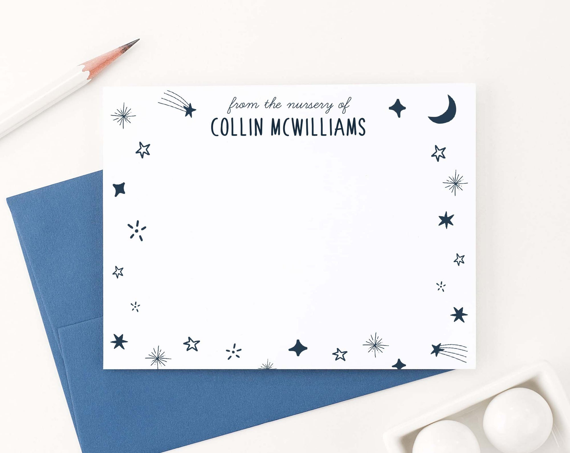 KS166 moon and stars kids stationary personlized from the nursery of star boys girls