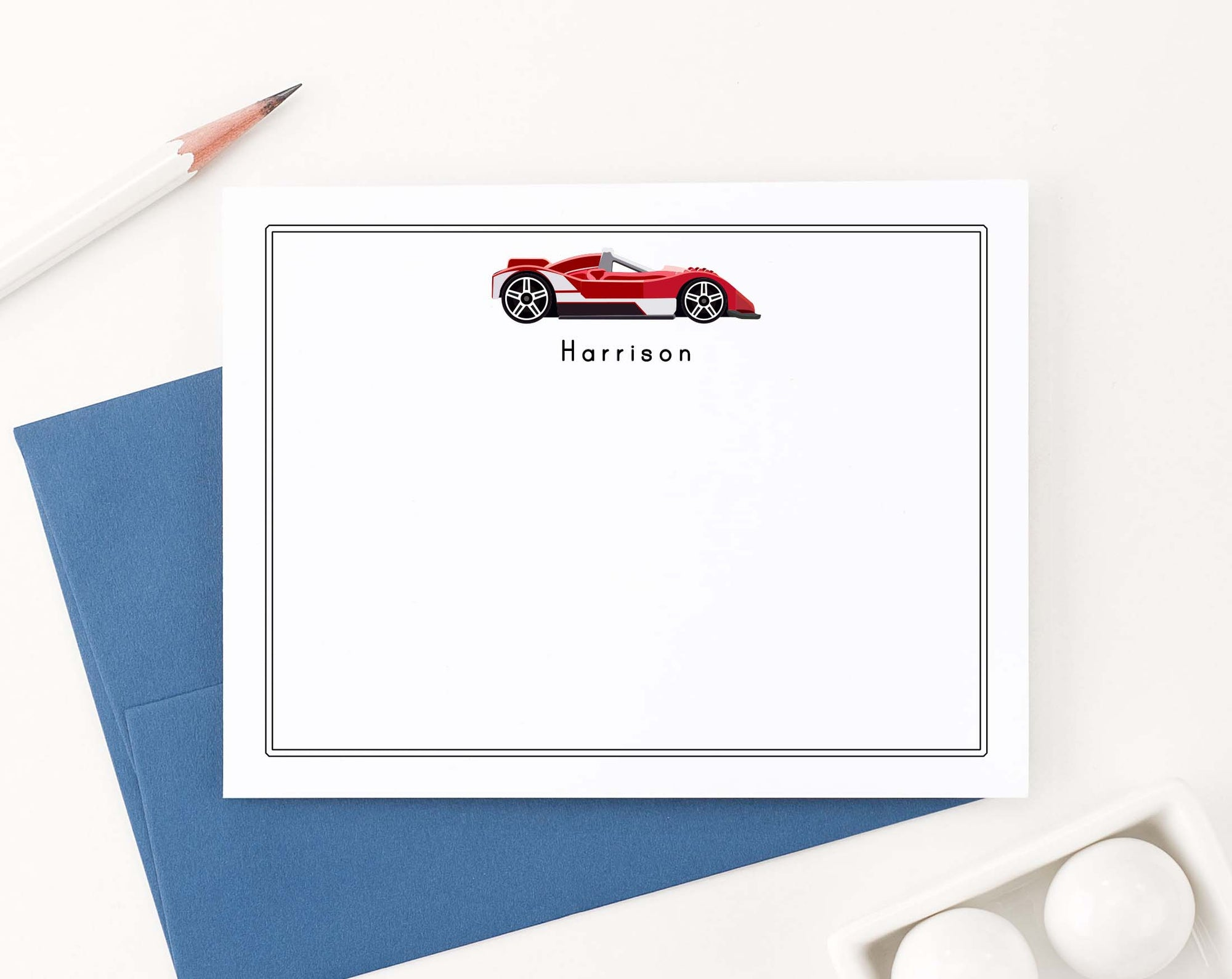 KS171 kids red race car personalized stationary set boys girls vehicle
