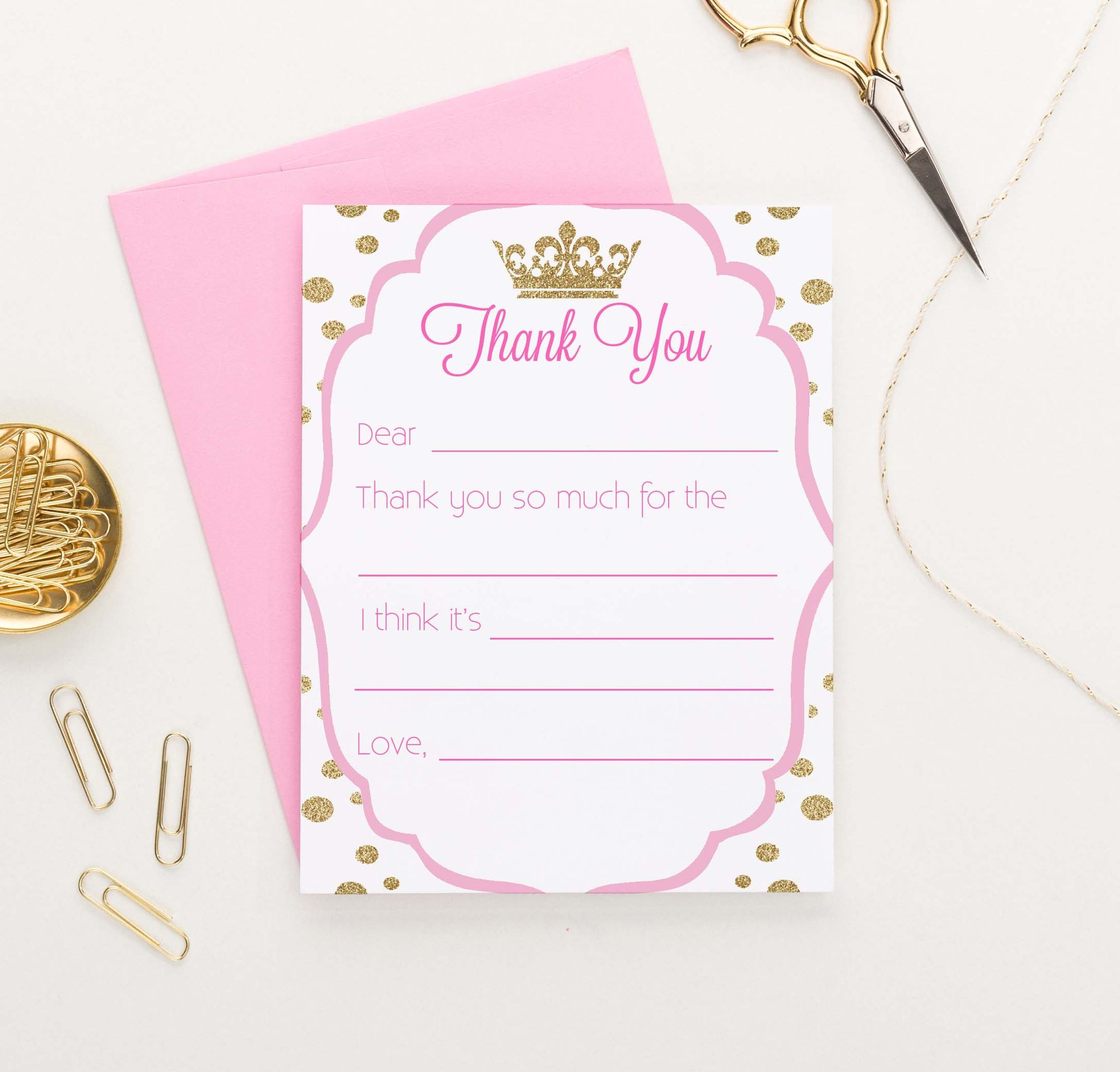 KS175 kids fill in thank you princess stationery set gold glitter polka dots