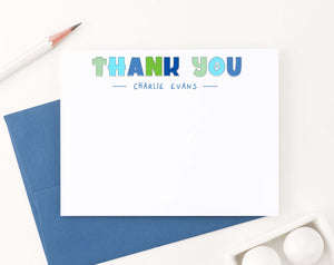 KS177 personalized blue and green thank you kids stationary boys girls cute 2nd photo