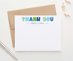 KS177 personalized blue and green thank you kids stationary boys girls cute