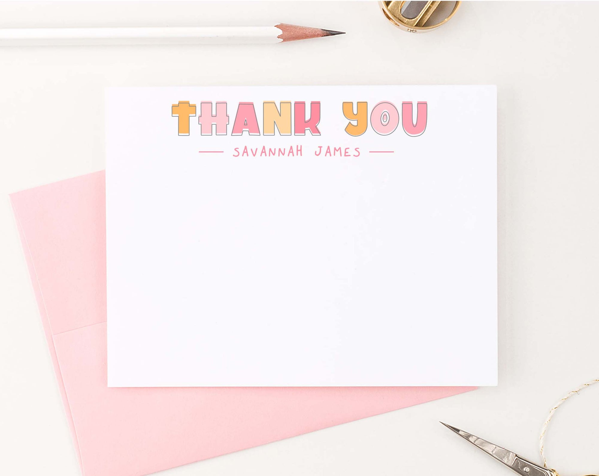KS178 girls thank you stationary personalized kids simple cute 1st photo
