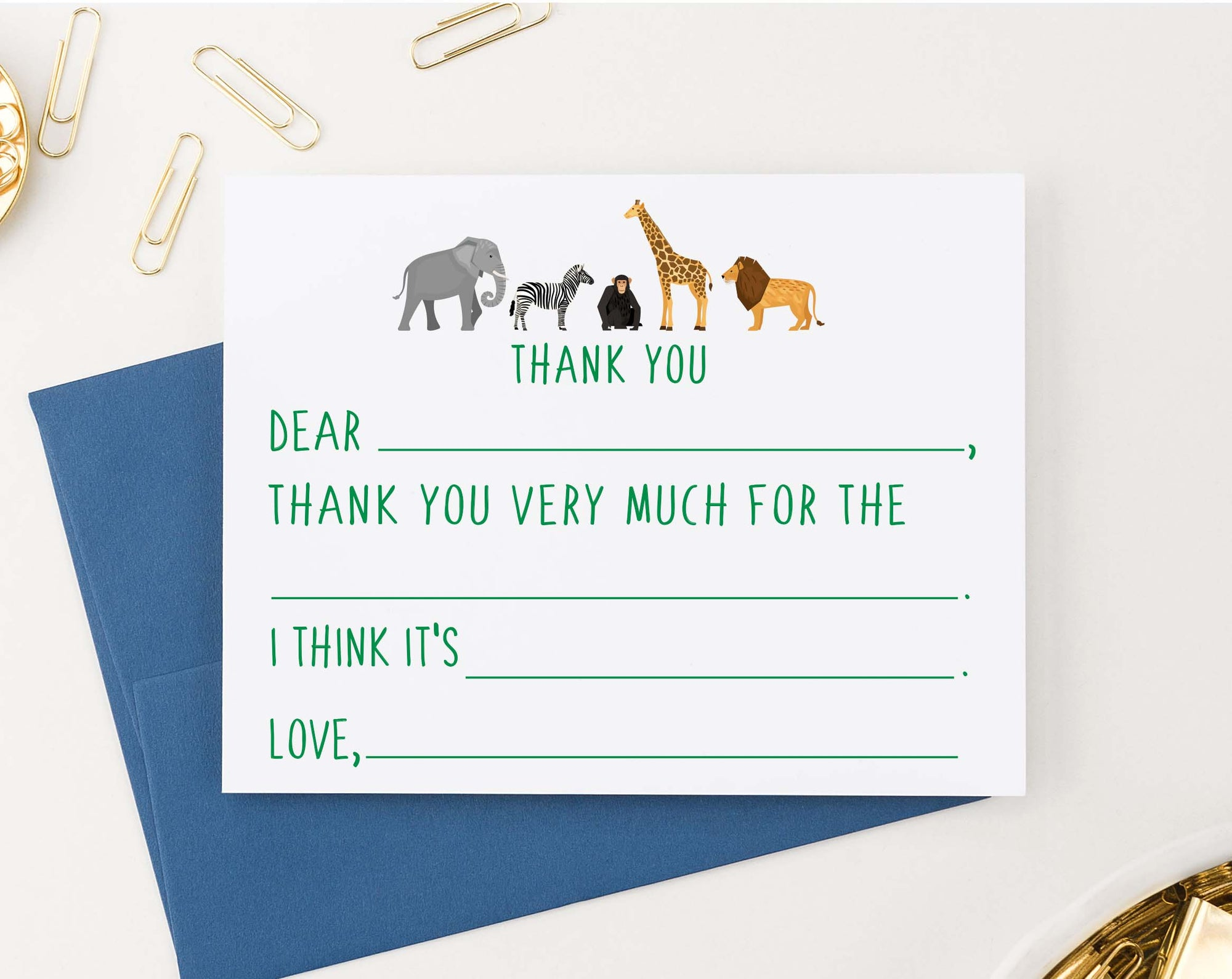 KS180 zoo animals fill in thank you note cards set with elephant zebra monkey giraffe and lion