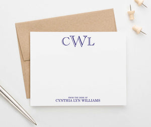 ML005 from the desk of name and monogram stationary set personalized professional classic 3 letter 1