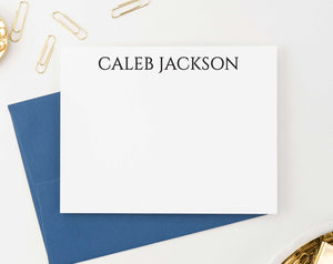 ML007 simple block font stationary personalized for adults flat notecards professional classic