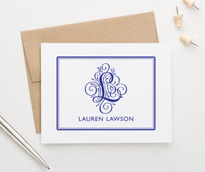 MS004 personalized folded 1 initial and name monogrammed stationary border elegant modern classic