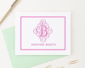 MS004 personalized folded 1 initial and name monogrammed stationary border elegant modern classic stationery 1