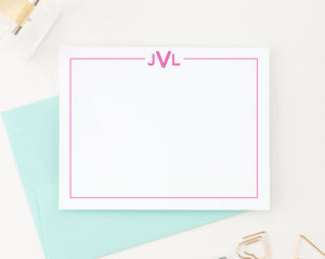 MS012 personalized bordered monogrammed note cards for adults monogram 3 letter classic