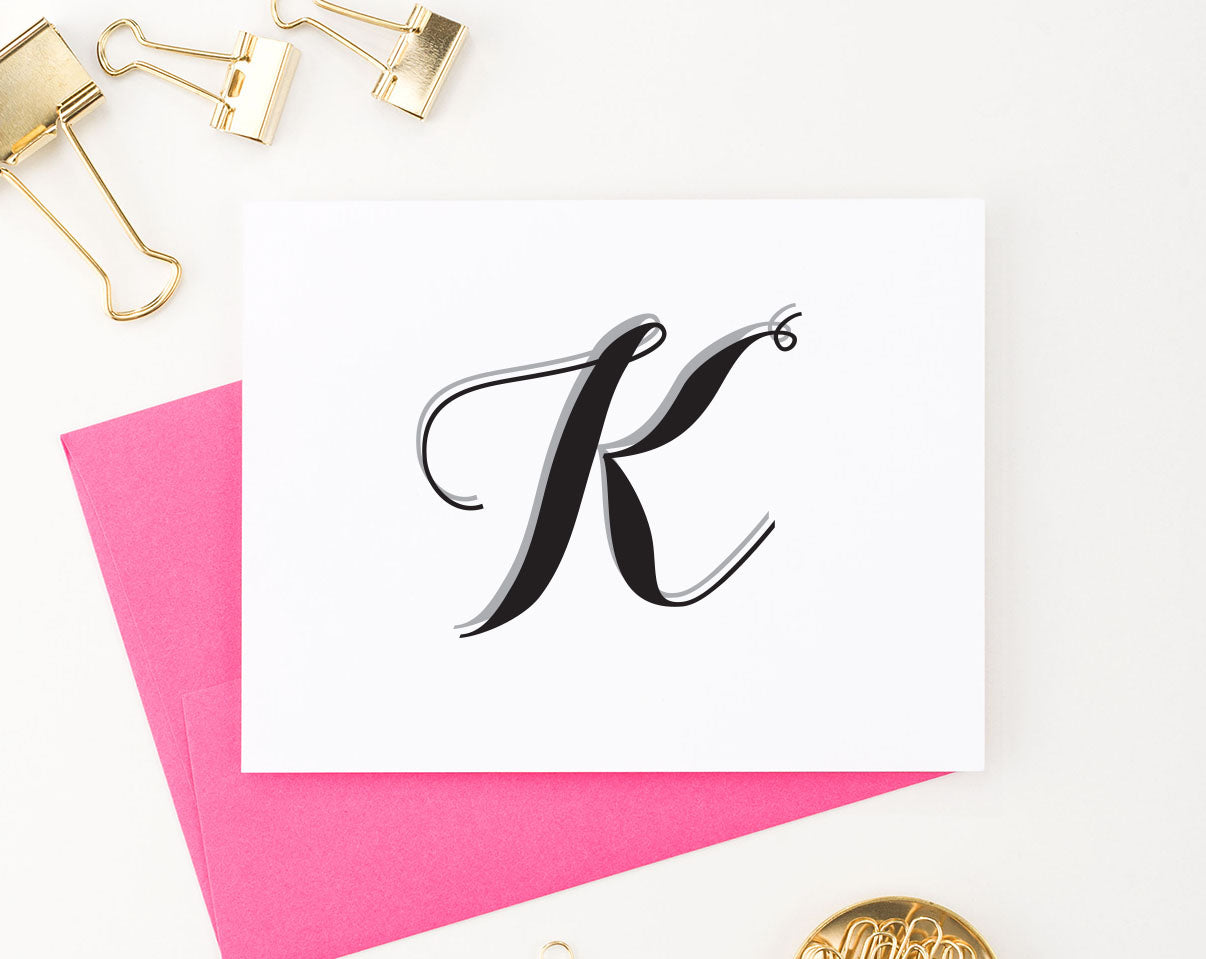 MS014 personalized simple 1 initial stationary for women and men folded notecard script font 1