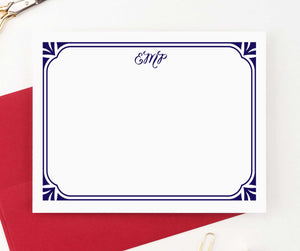 MS015 personalized elegant border monogram note cards for women men flat stationary classic.