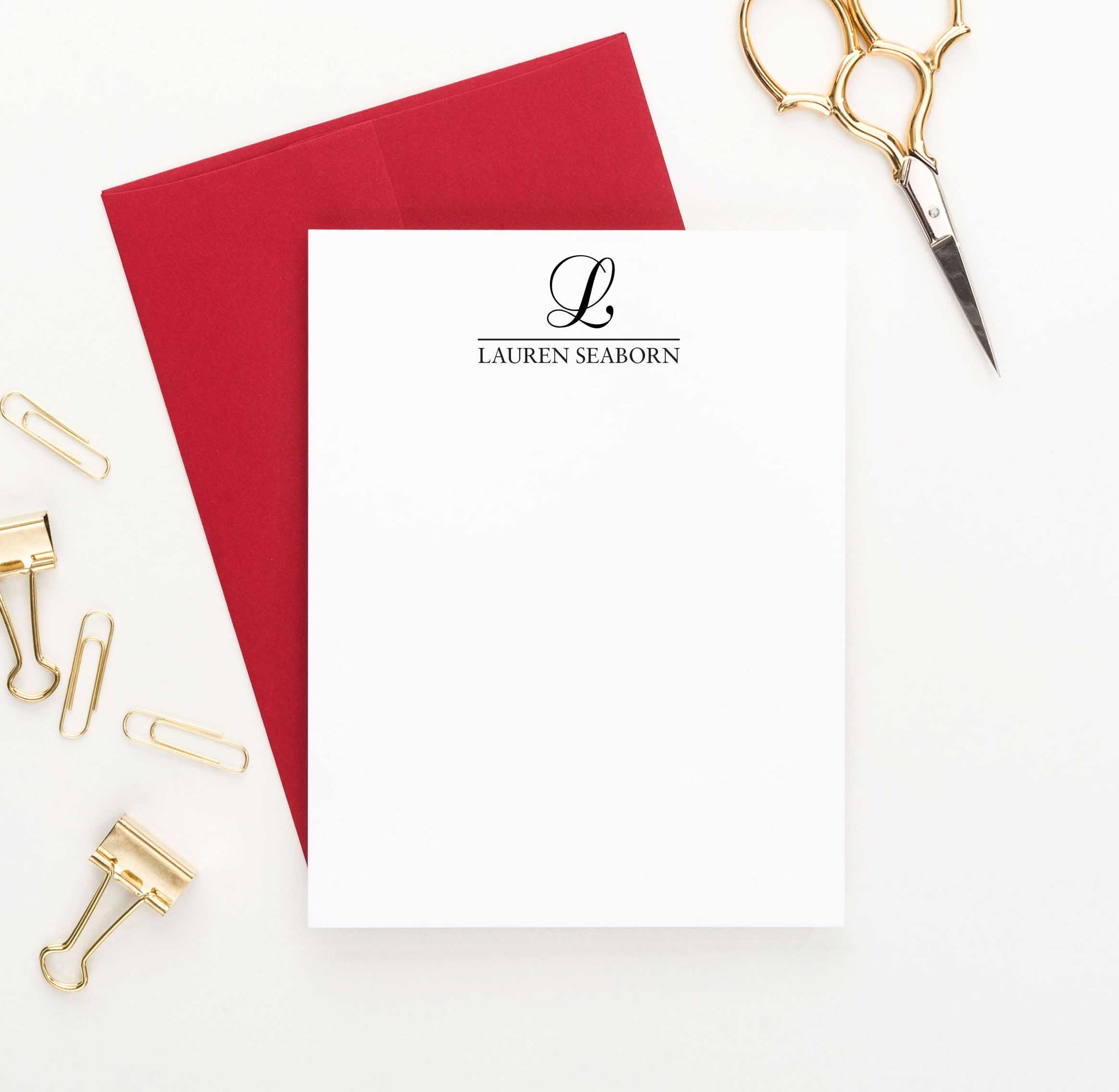 MS016 name and initial monogram stationary note cards personalized classic 1 initial 1