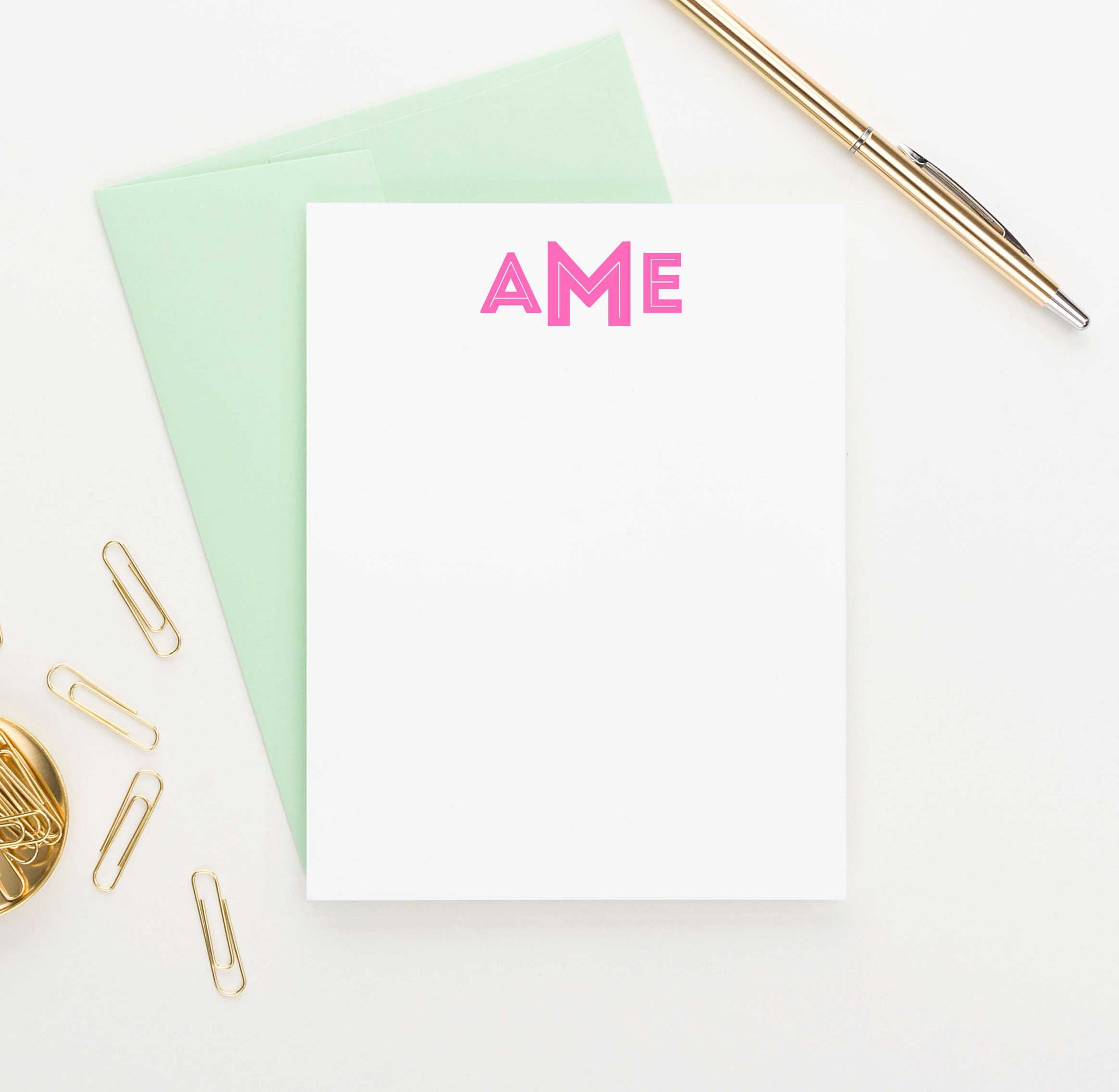 MS021 personalized block font 3 letter monogrammed note cards set women men simple