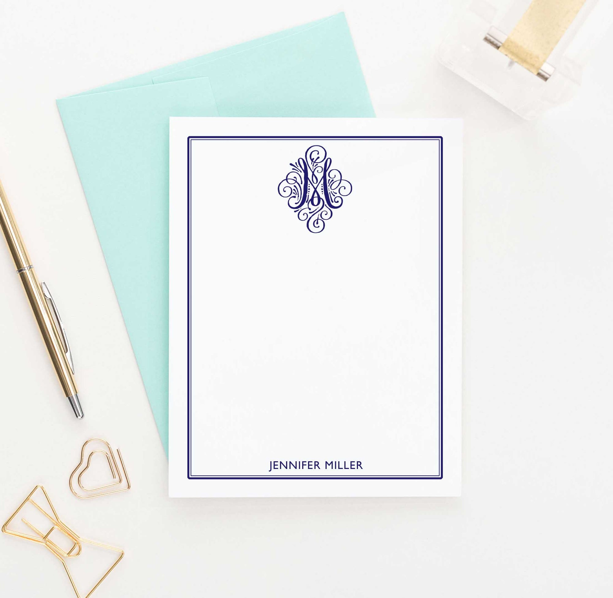 MS023 personalized 1 initial monogram stationery with border women men notecard