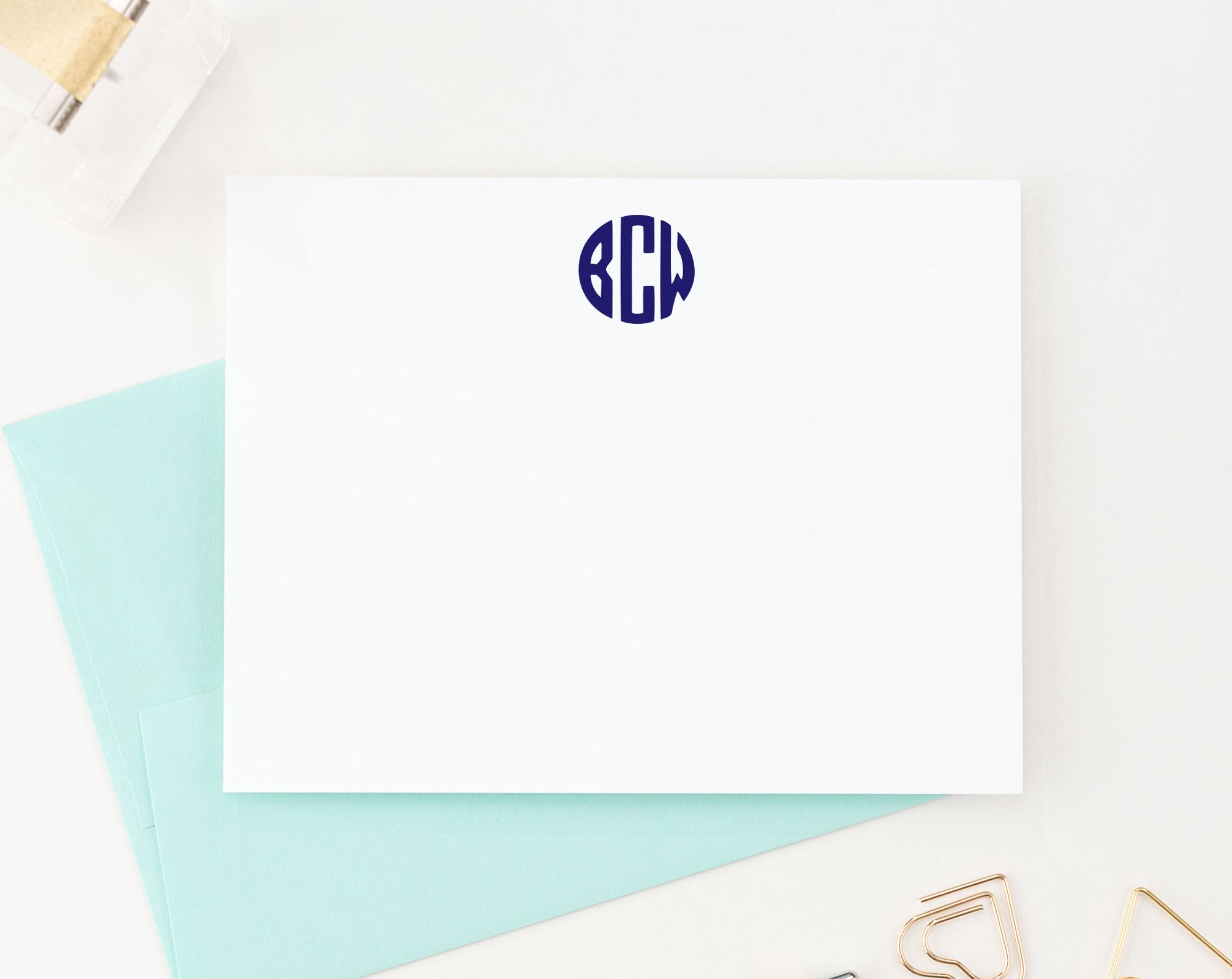 MS025 personalized 3 letter circle monogram stationery for adults simple classic note cards 1