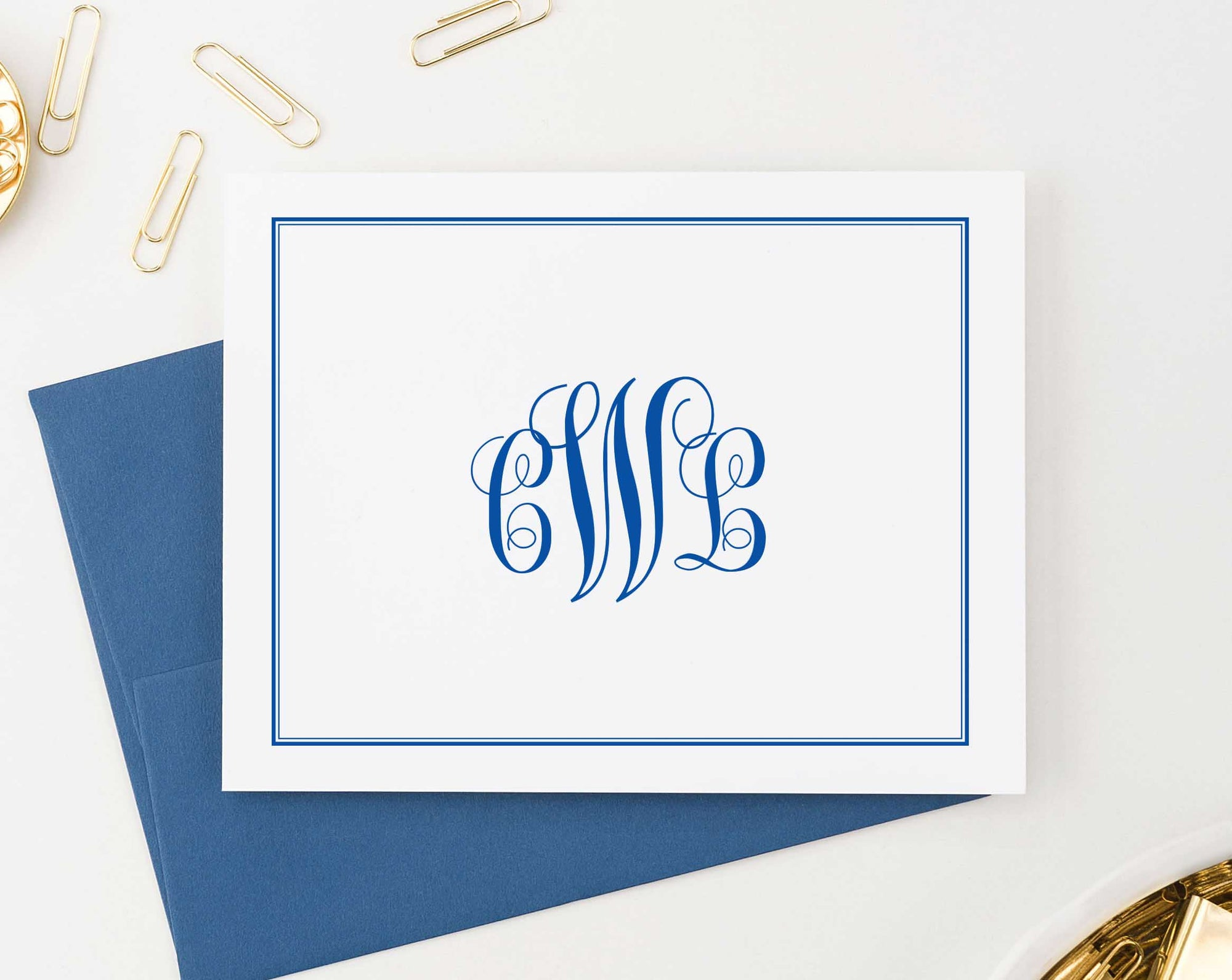 MS026 professional monogram notecards for adults 3 letter folded border business classic