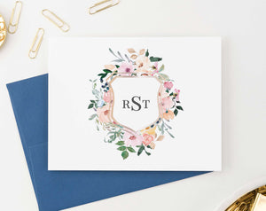 MS028 personalized elegant floral monogrammed stationary for women folded notecards 3 letter 1