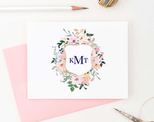 MS028 personalized elegant floral monogrammed stationary for women folded notecards 3 letter.