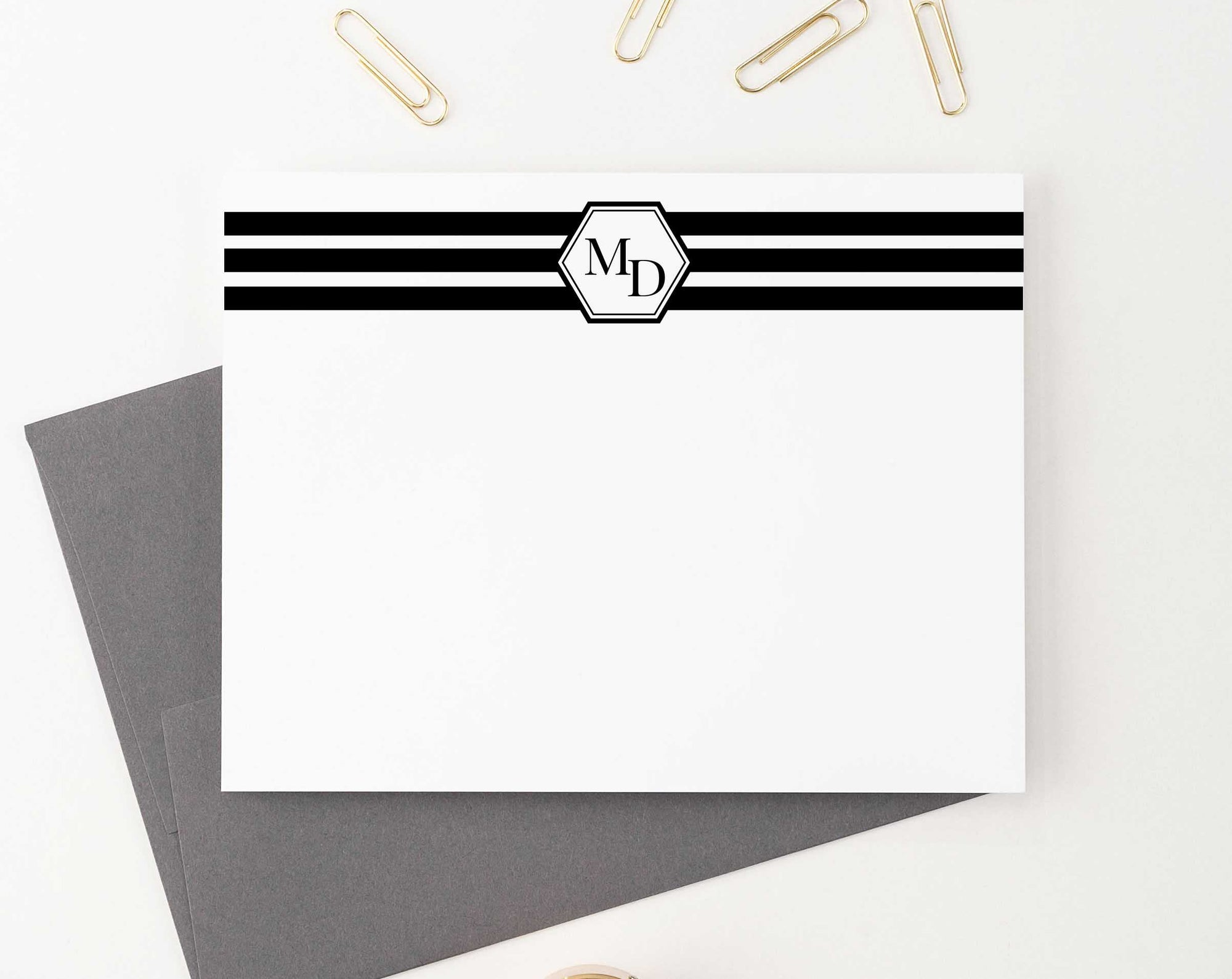 MS029 2 initial note cards set personalized men women classic monogrammed