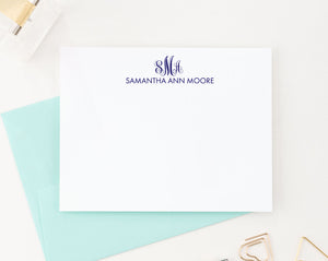 MS031 name and 3 letter monogramed stationary for women and men elegant classic monogram 1